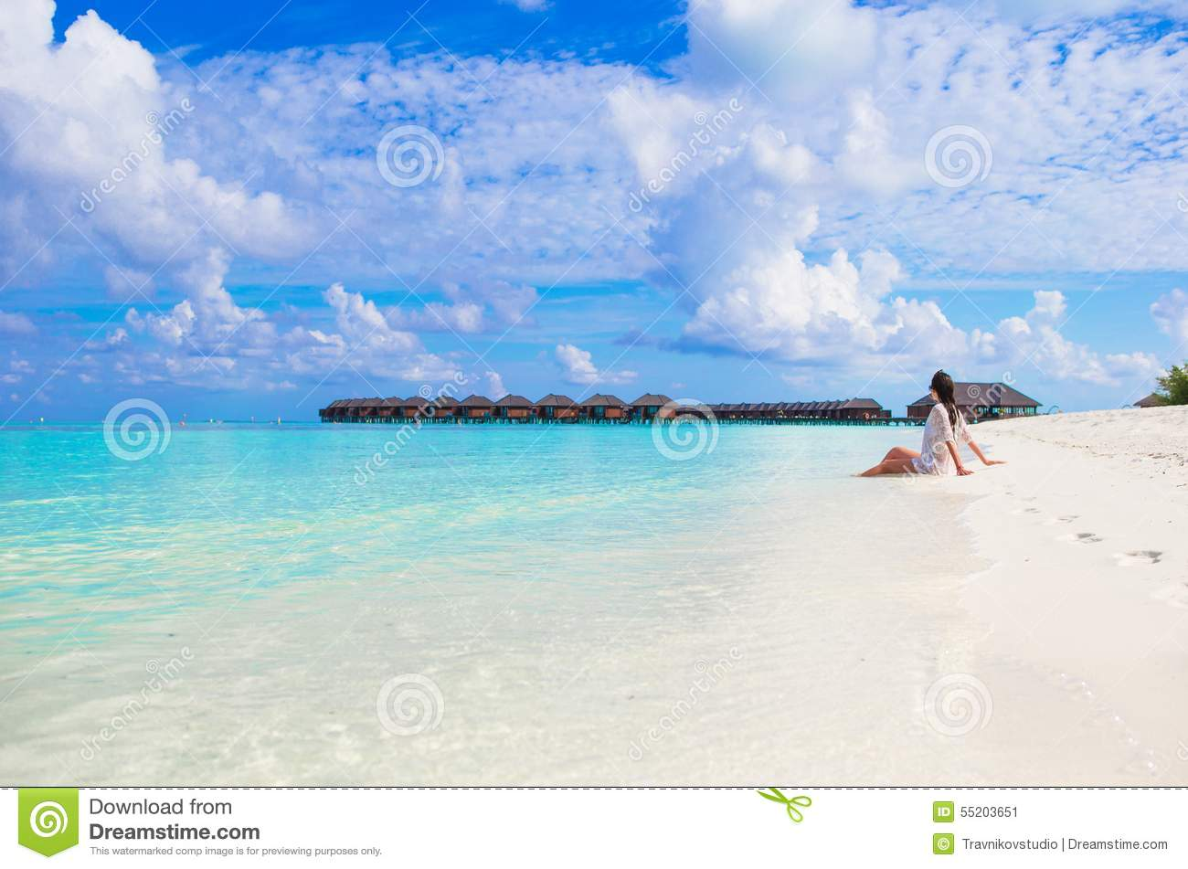 Young slim woman enjoy tropical beach vacation stock image for White sand beach vacations