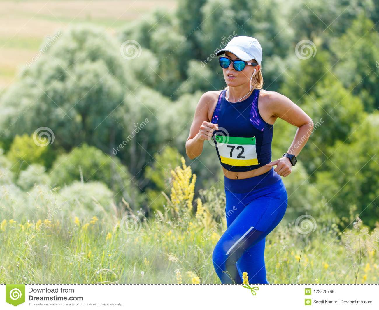 2970b3f639ca Young Slim Woman Running Trail Race Contest Stock Image - Image of ...