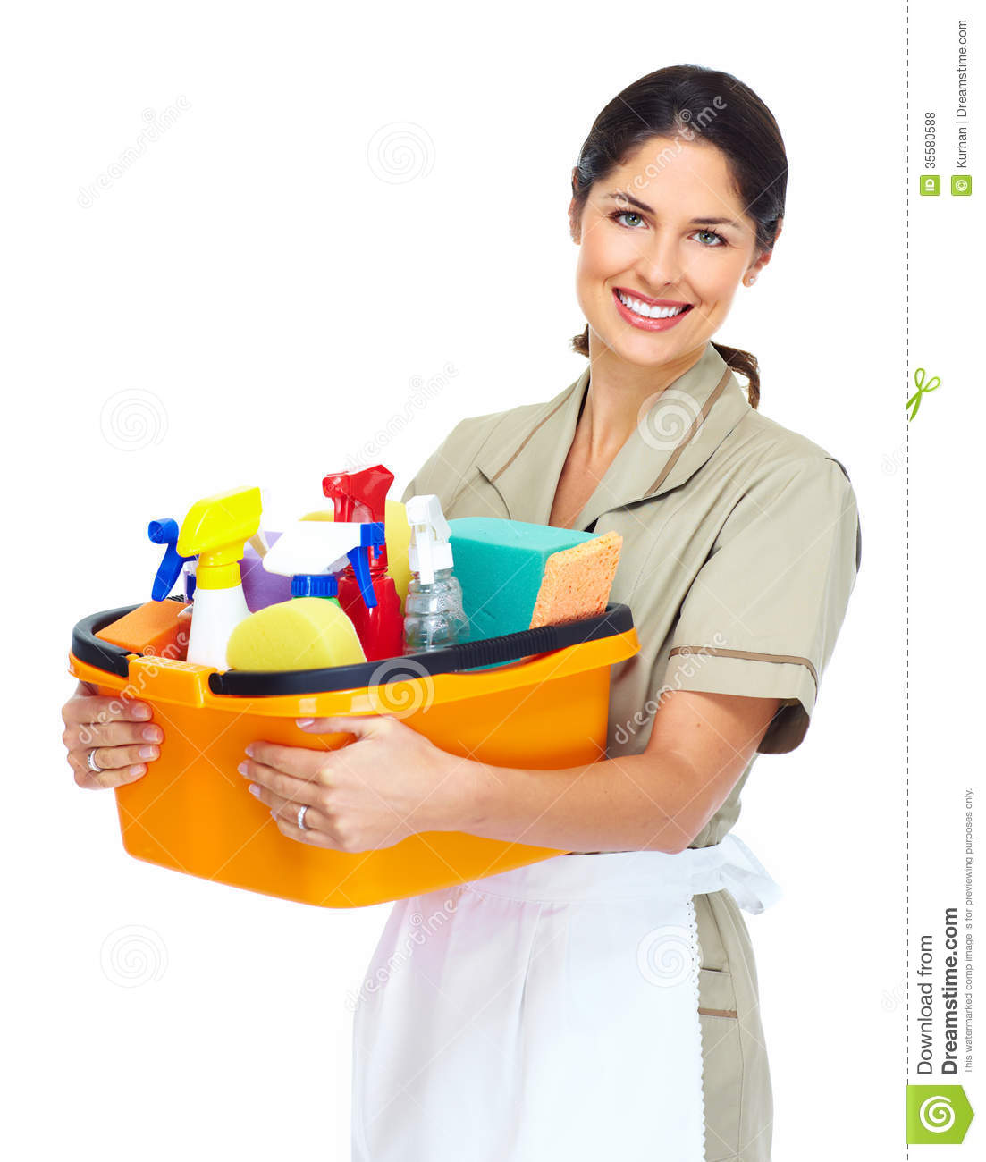 Young Smiling Cleaner Woman Royalty Free Stock Photos