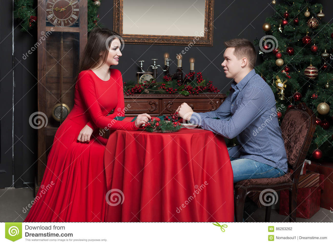 Young Smiling Couple At Luxury Restaurant Stock Photo Image Of Evening People 86263262