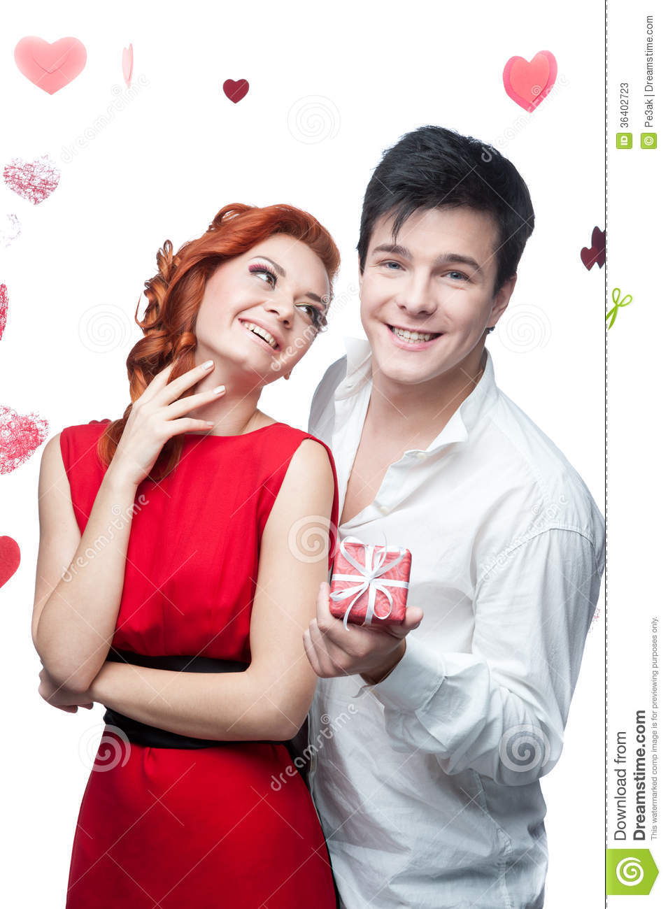 Young Smiling Couple On Valentines Day Stock Image Image Of Glad