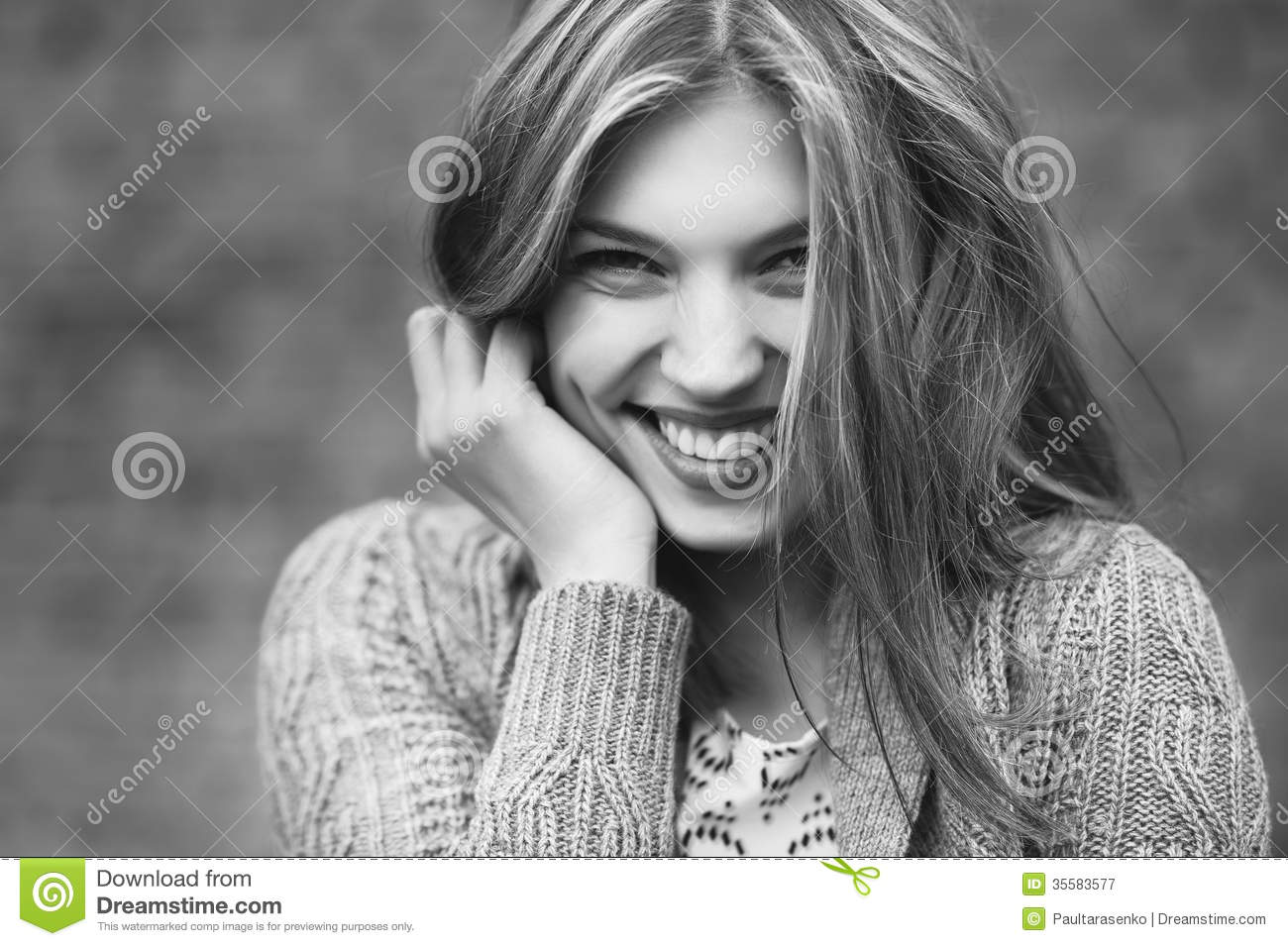 Young smiling girl close up black white photo