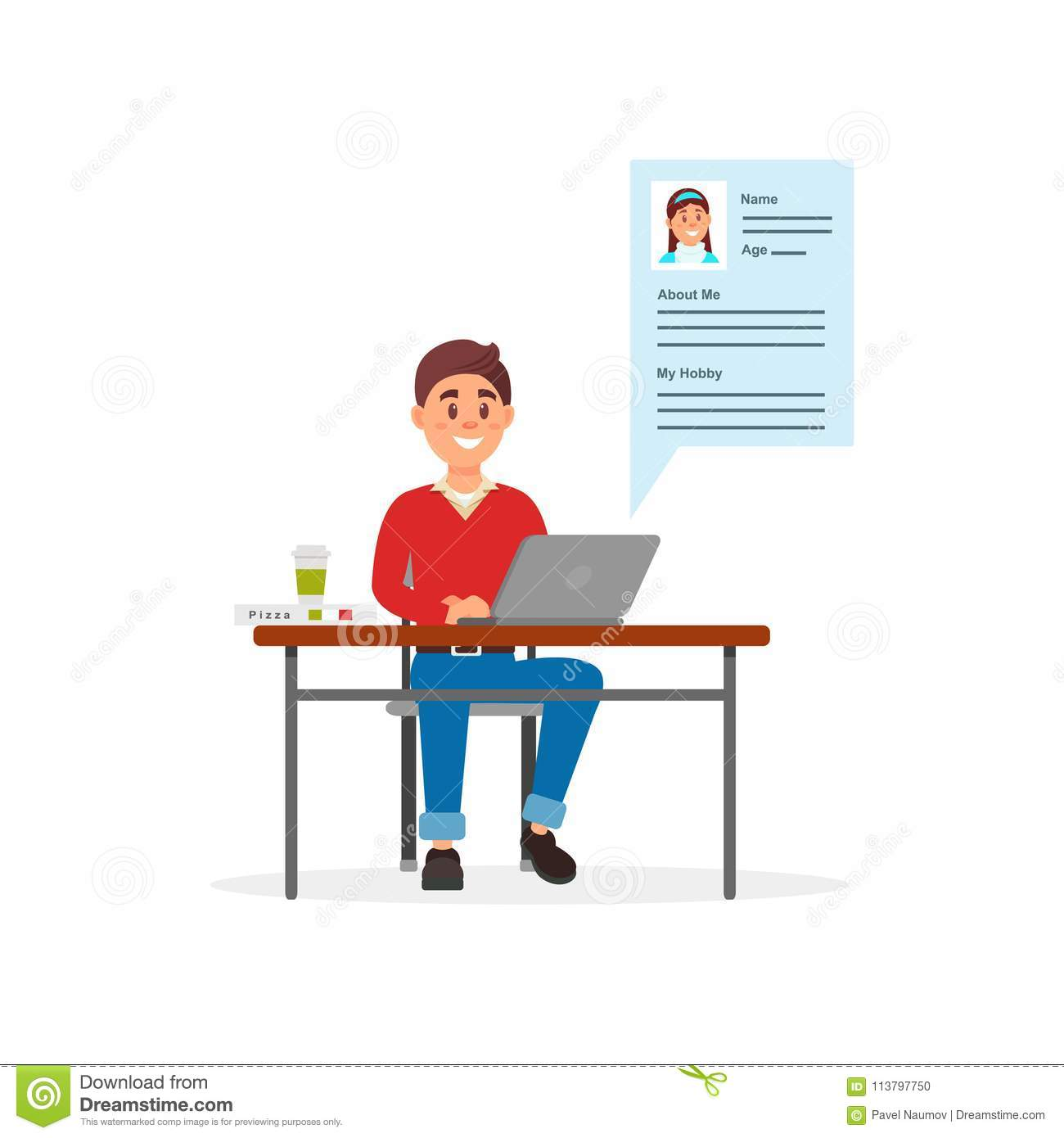Young smiling man communicating on laptop computer using dating web site or app vector Illustration on a white