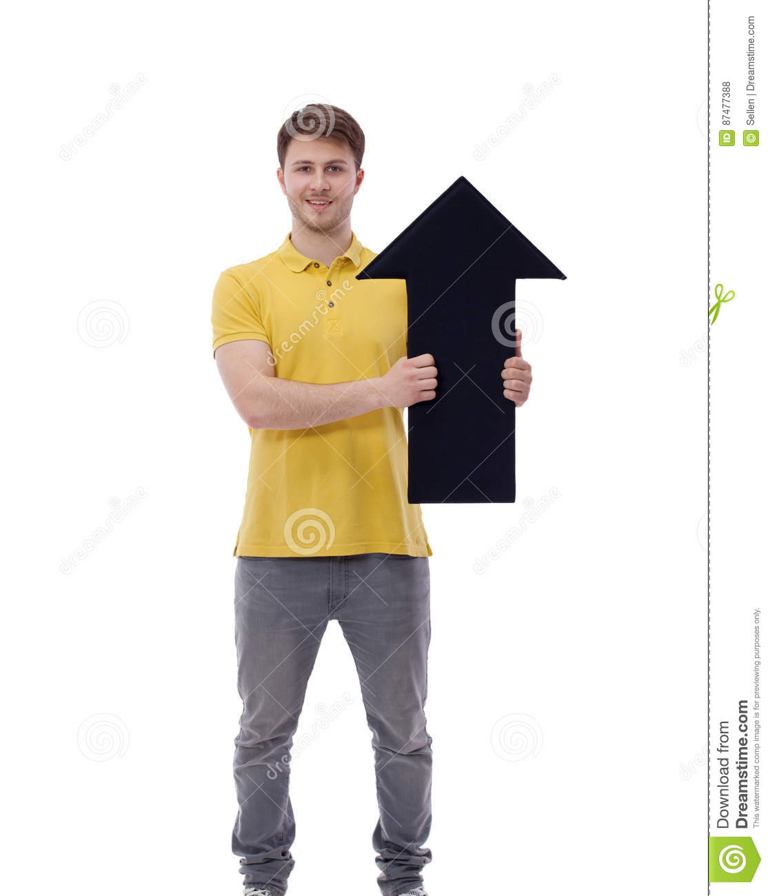 Young smiling man holding blank Pointer