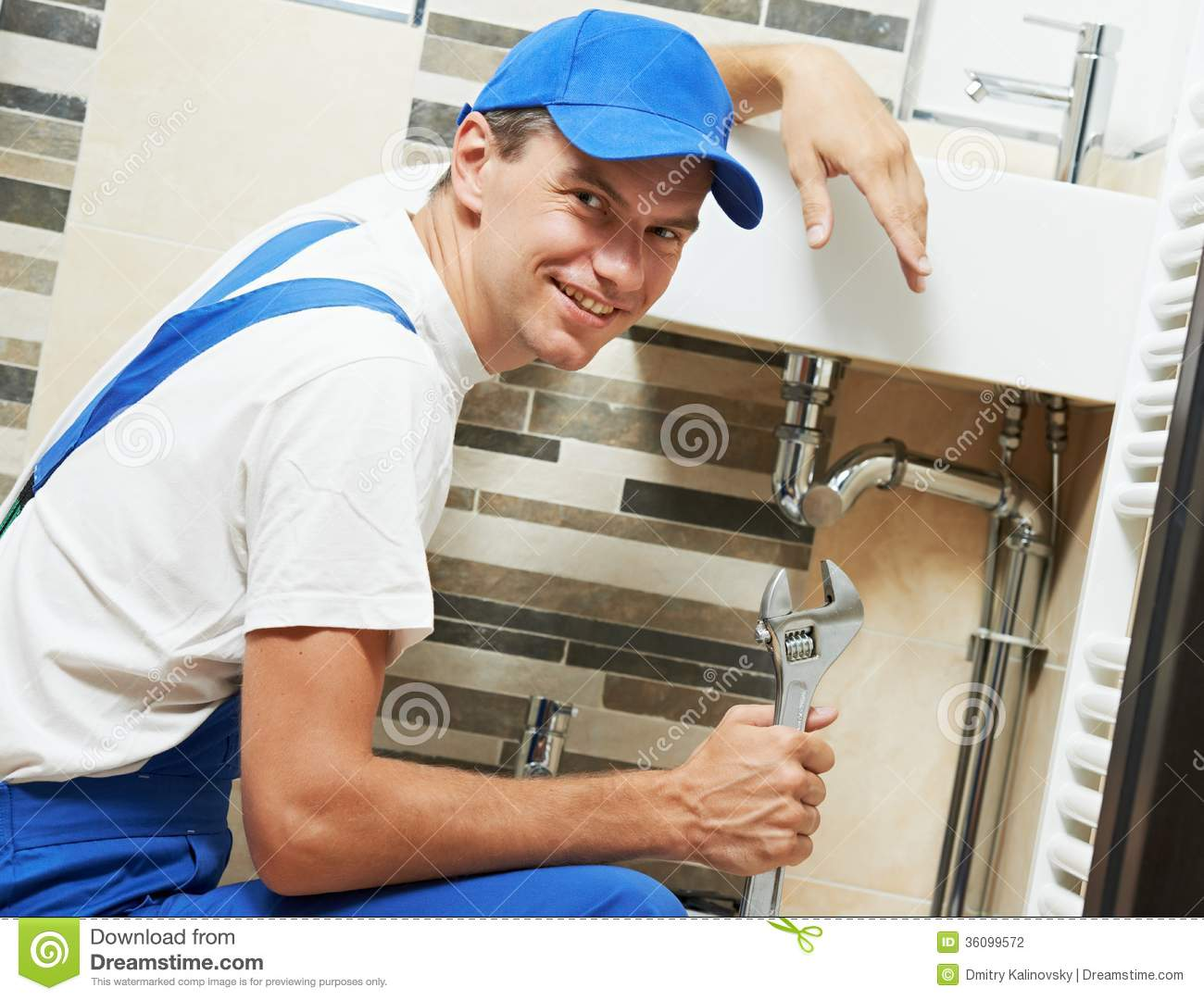 Young Smiling Plumber Man Worker Stock Photography Image