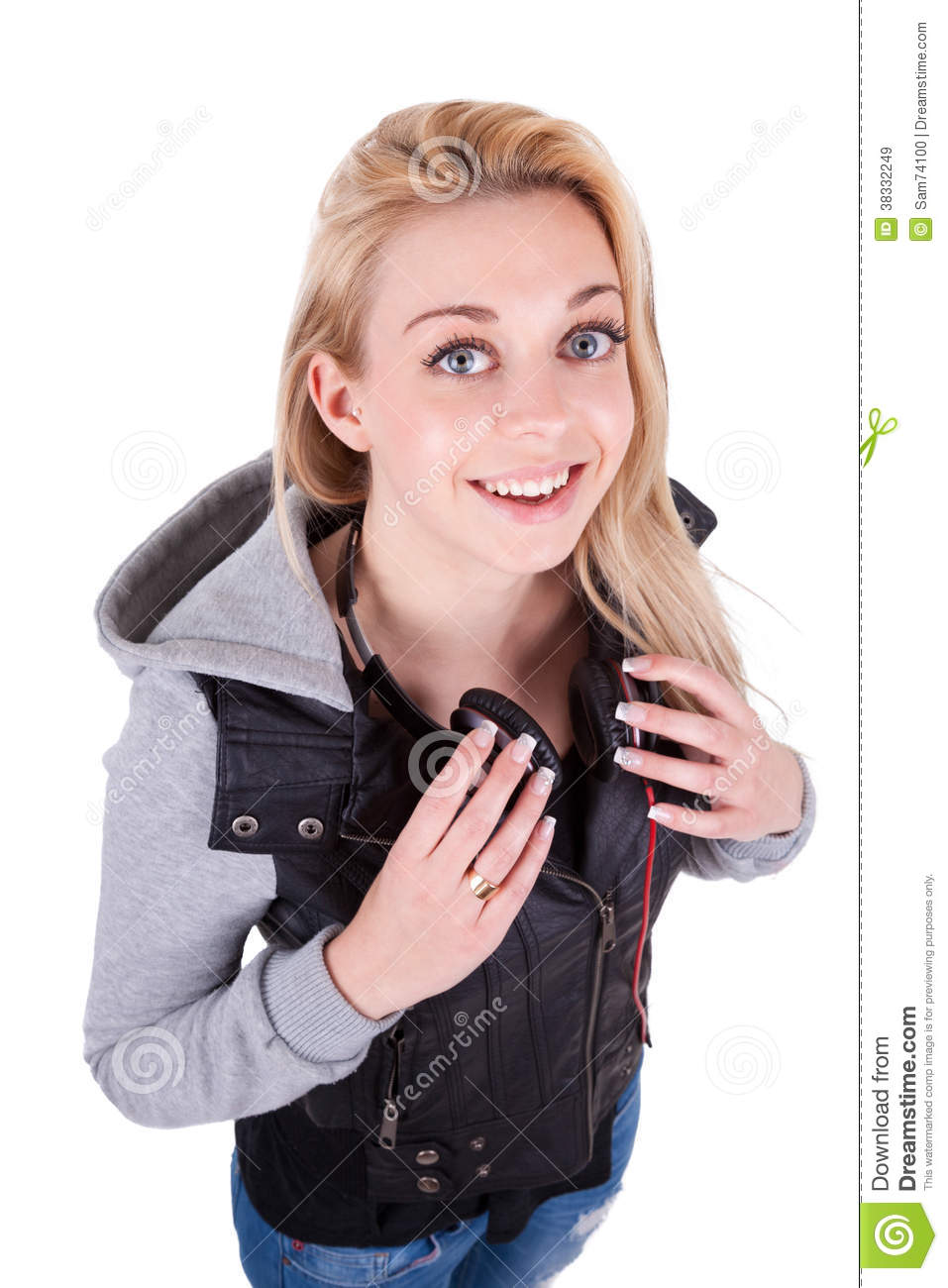 Teenage Caucasian Girl15 Years Old Sitting Outdoors: Young Smiling Teenage Girl Listening To Music