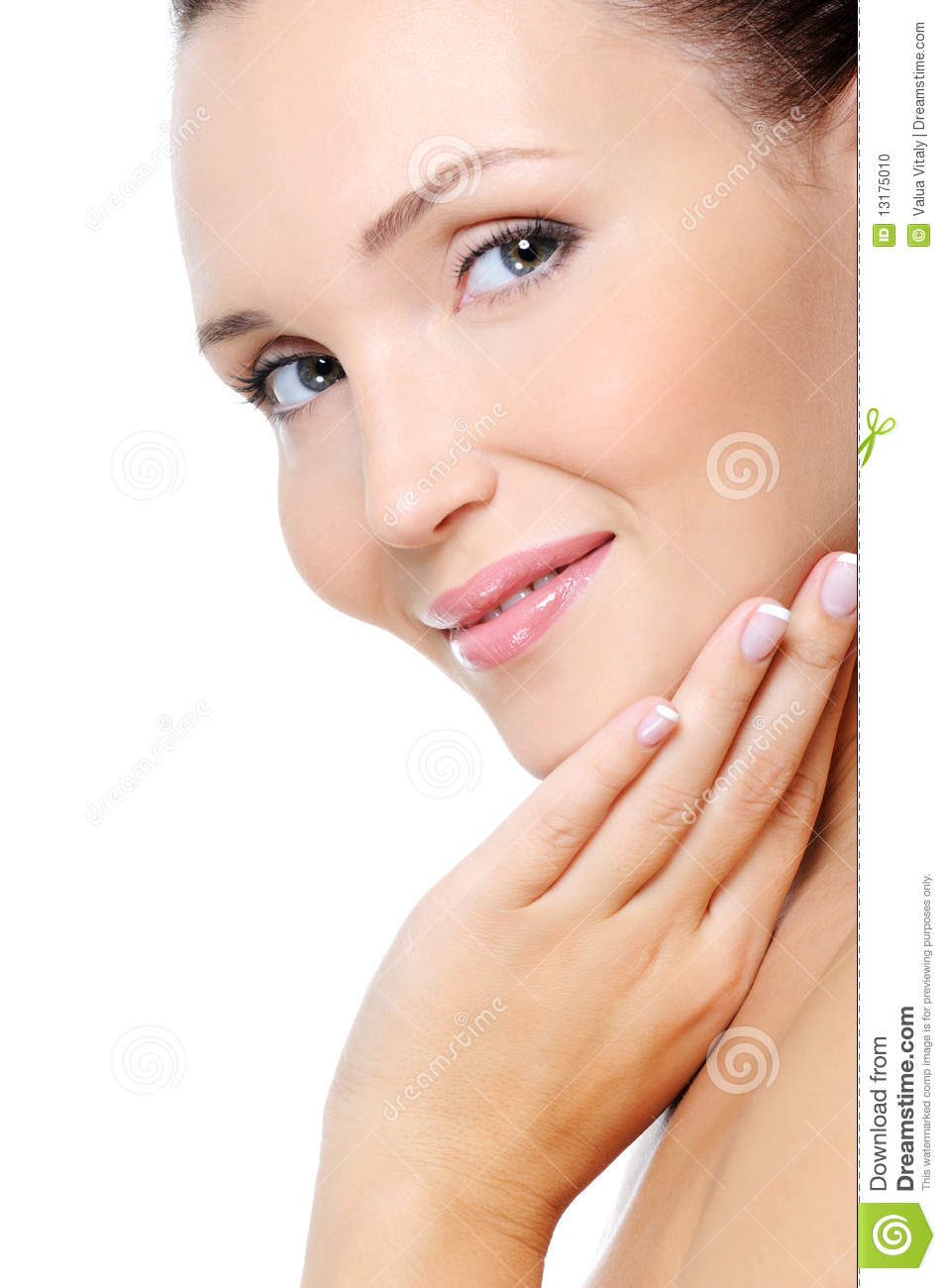Young smiling woman with a clean health skin