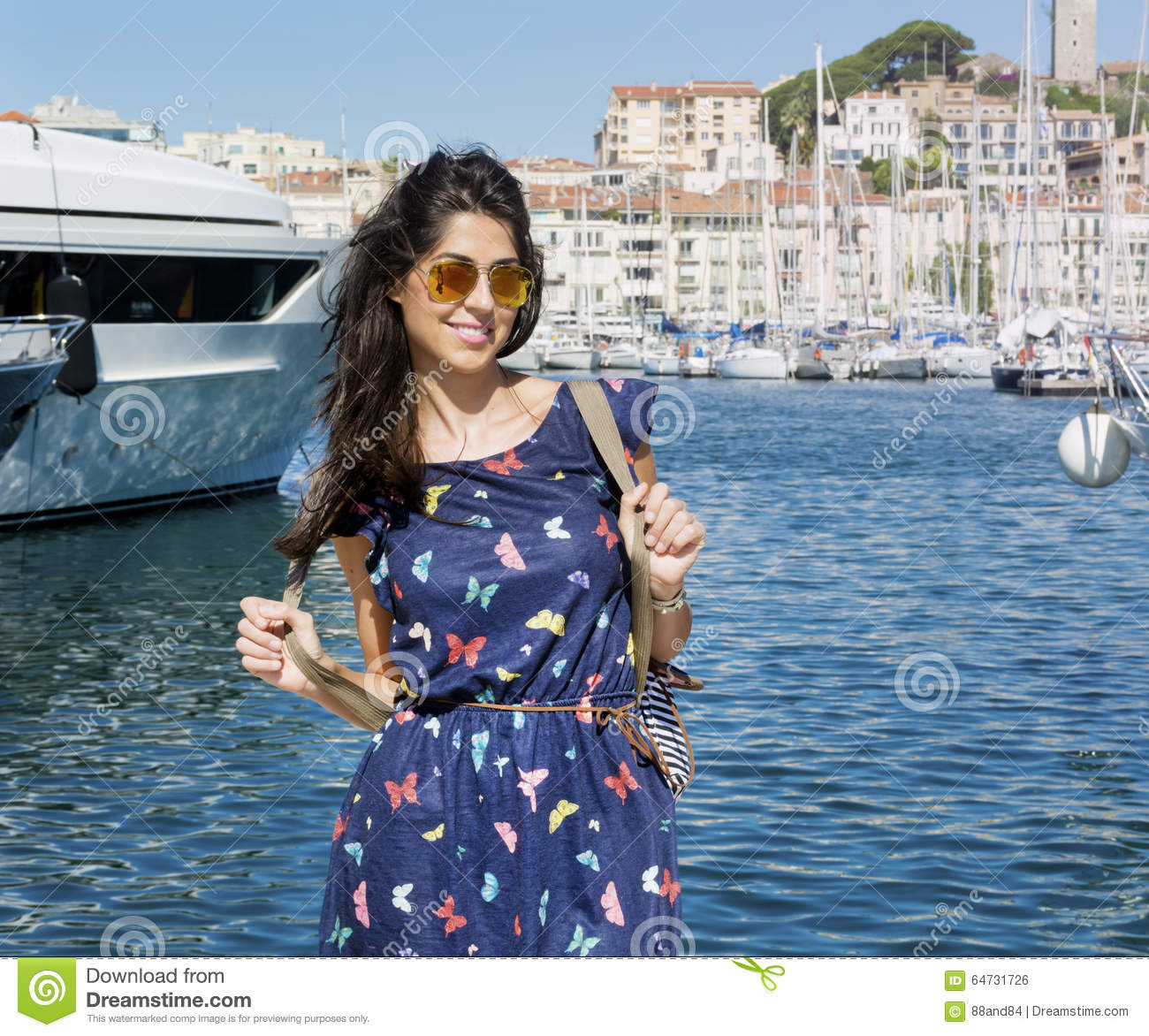 Woman Enjoying At Beach Stock Image Image Of Pleasure: Young Smiling Woman Enjoying The Sea View In Cannes France