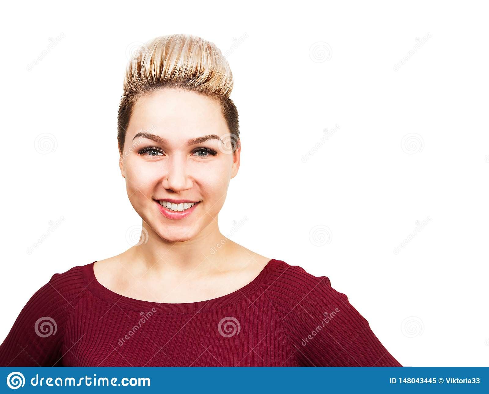 Young Smiling Woman With Modern Short Hairstyle Close Up Portrait