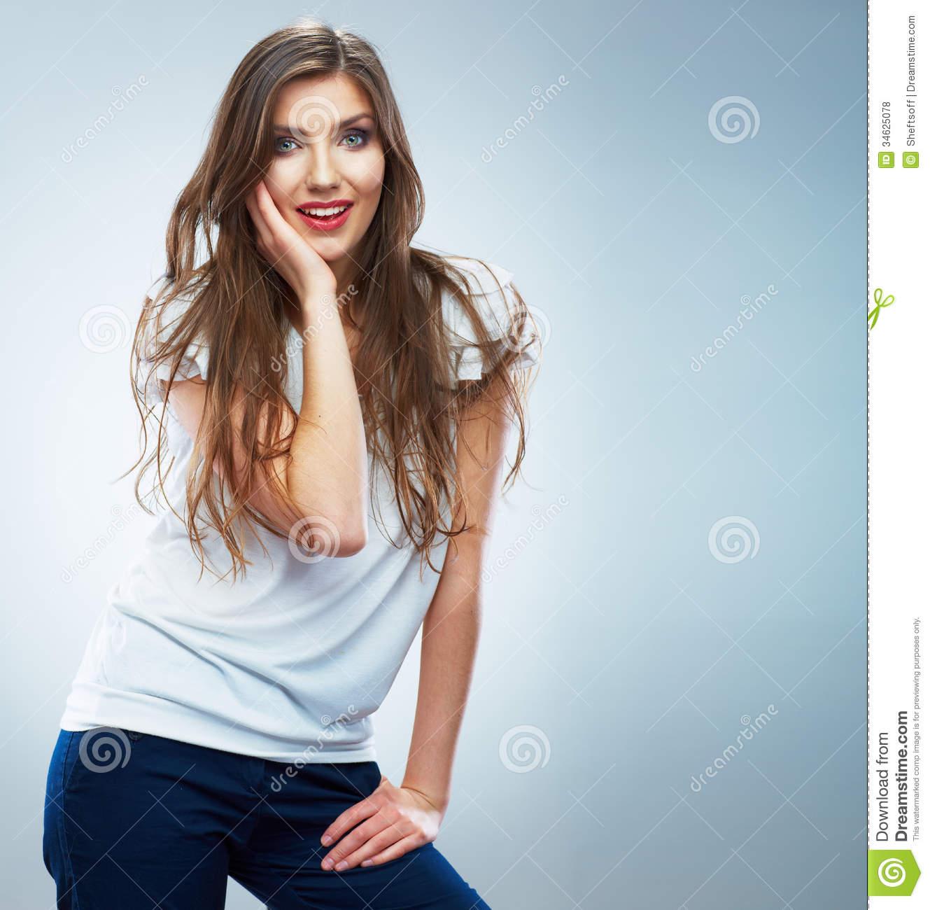 Photography Studio Floor Plans Young Smiling Woman Portrait Isolated Casual Style