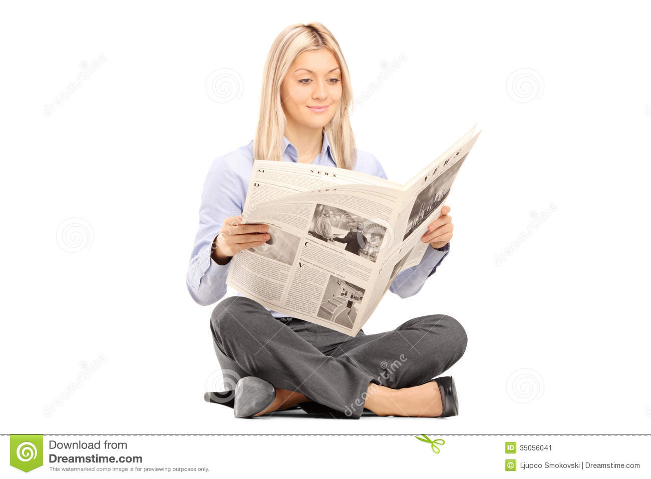 Young Smiling Woman Sittng On A Floor And Reading A ...