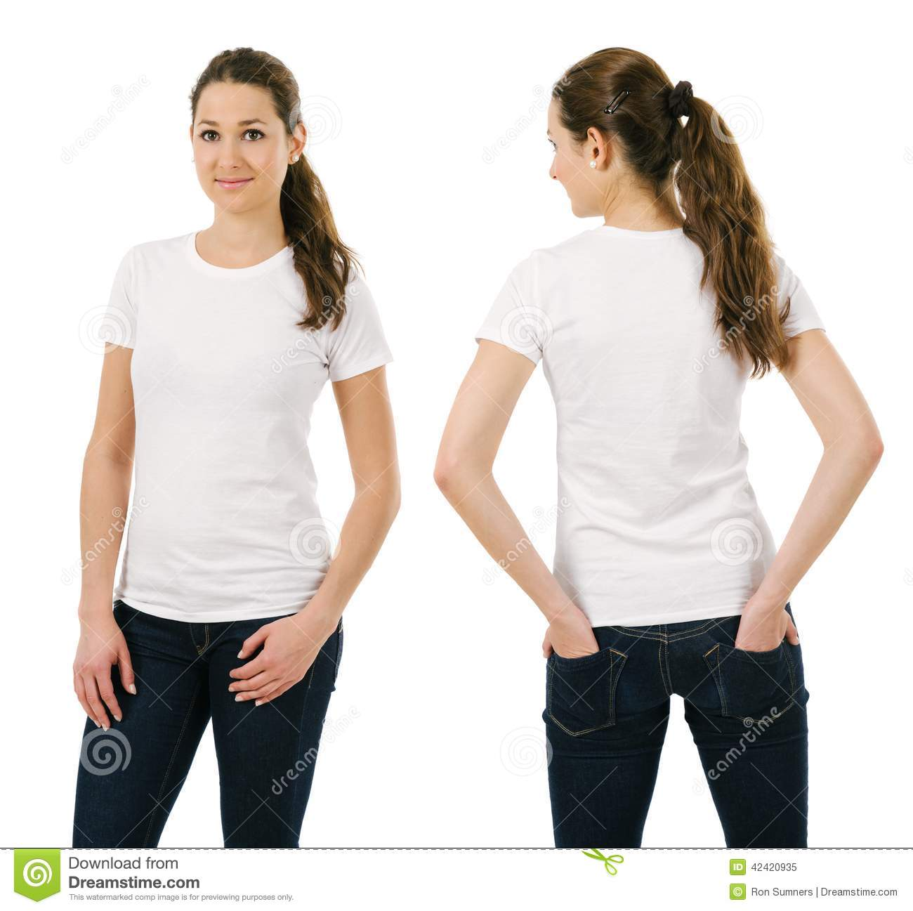Young Smiling Woman Wearing Blank White Shirt Stock Image - Image ...