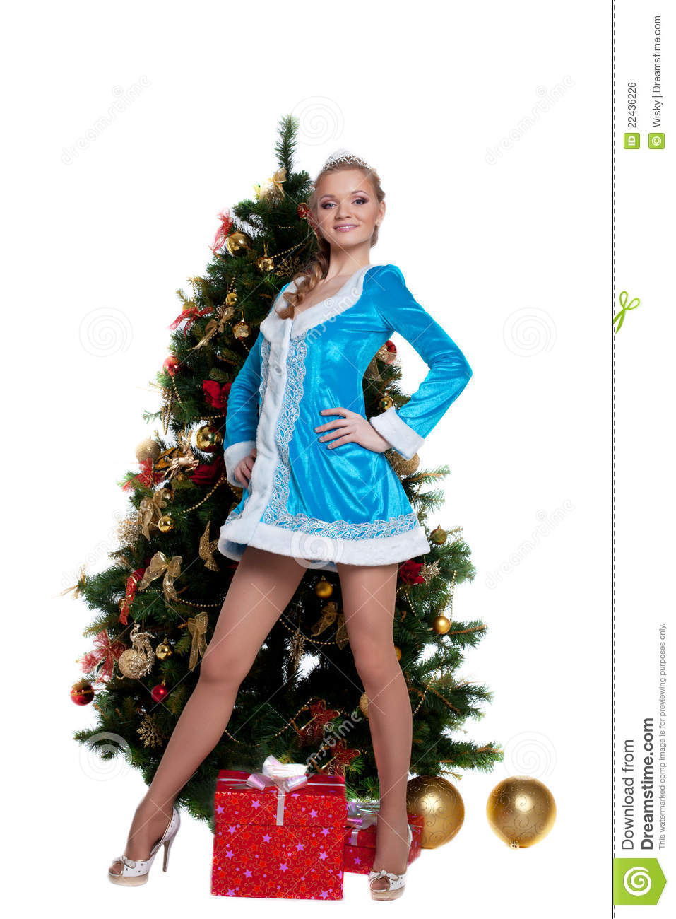 Young Snow Maiden Stand With New Year Fir Tree Royalty