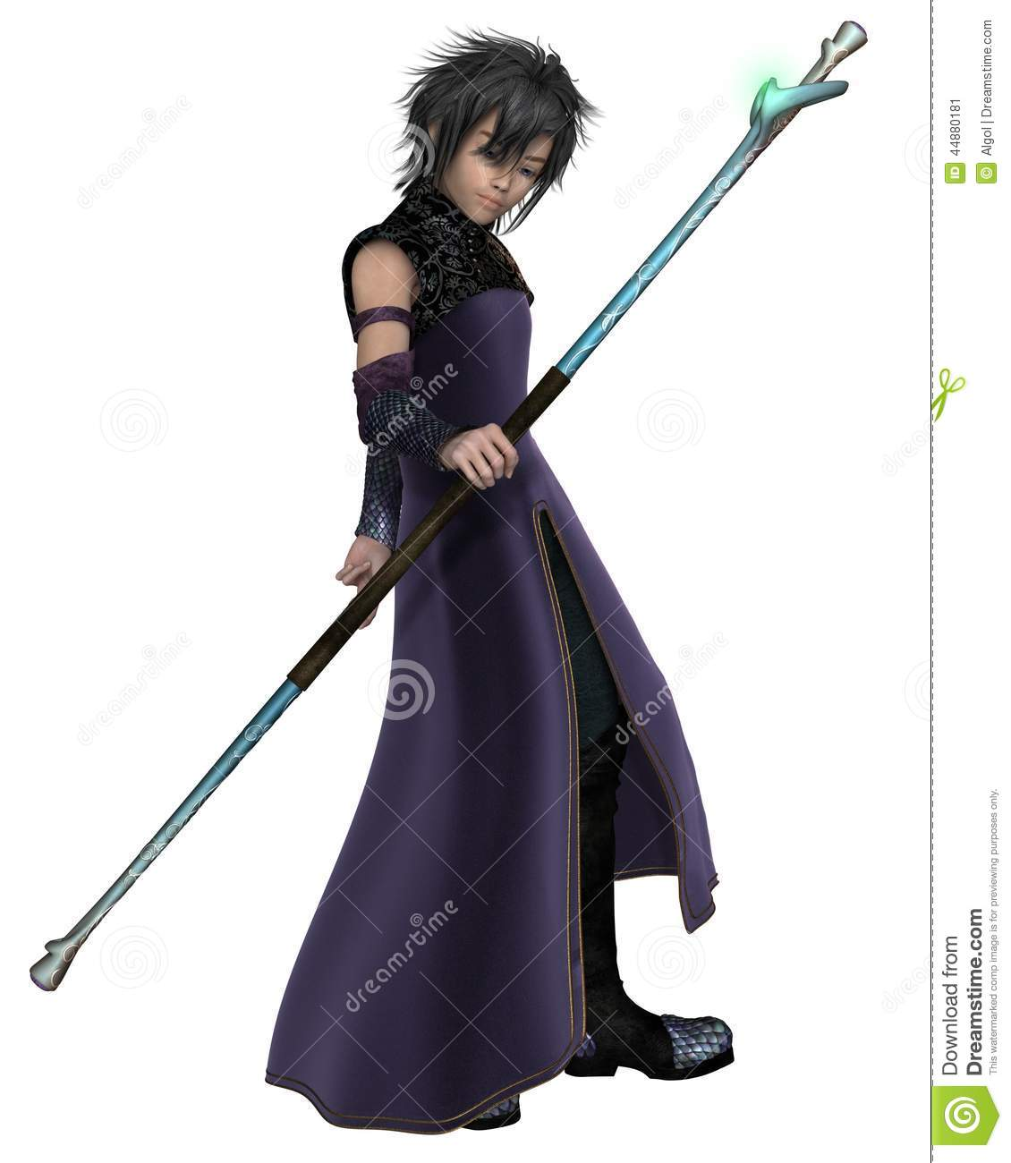 ... robes and carrying a magic staff, 3d digitally rendered illustration