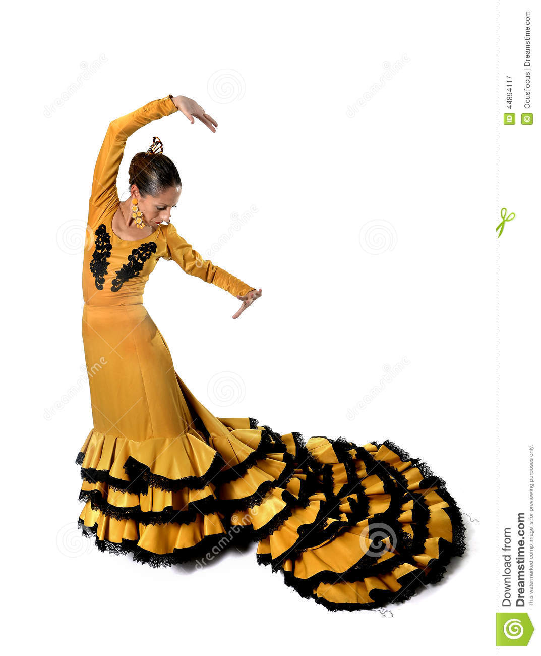 ce7d5a6a8e1b Young Spanish woman dancing flamenco in typical folk tailed gown dress