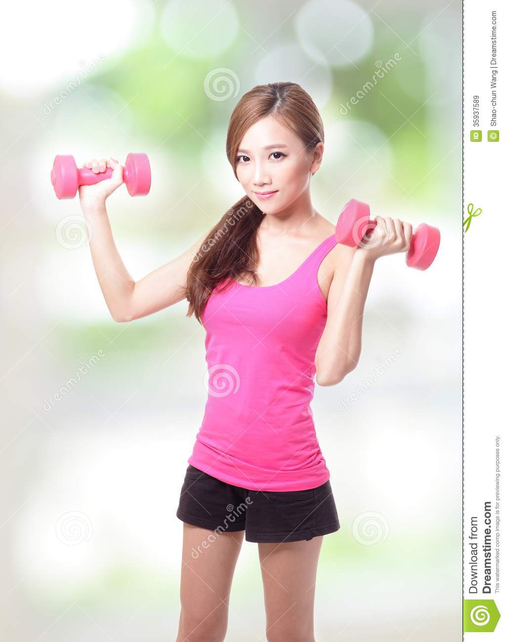 young sport girl with dumbbells stock image - image of background