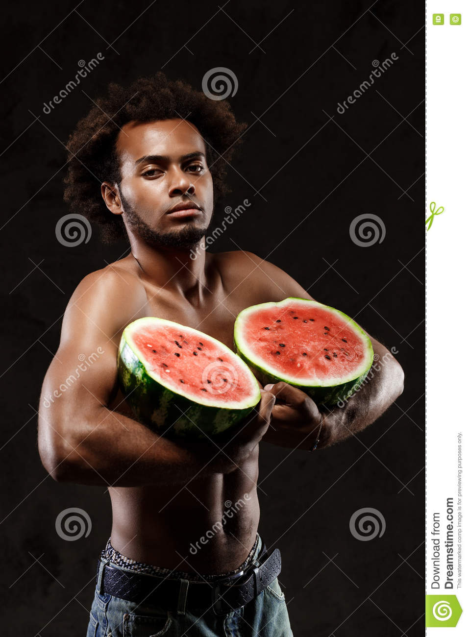 Young Sportive African Man Holding Watermelon, Posing Over Black  Background. Stock Photo - Image of isolated, single: 76287862