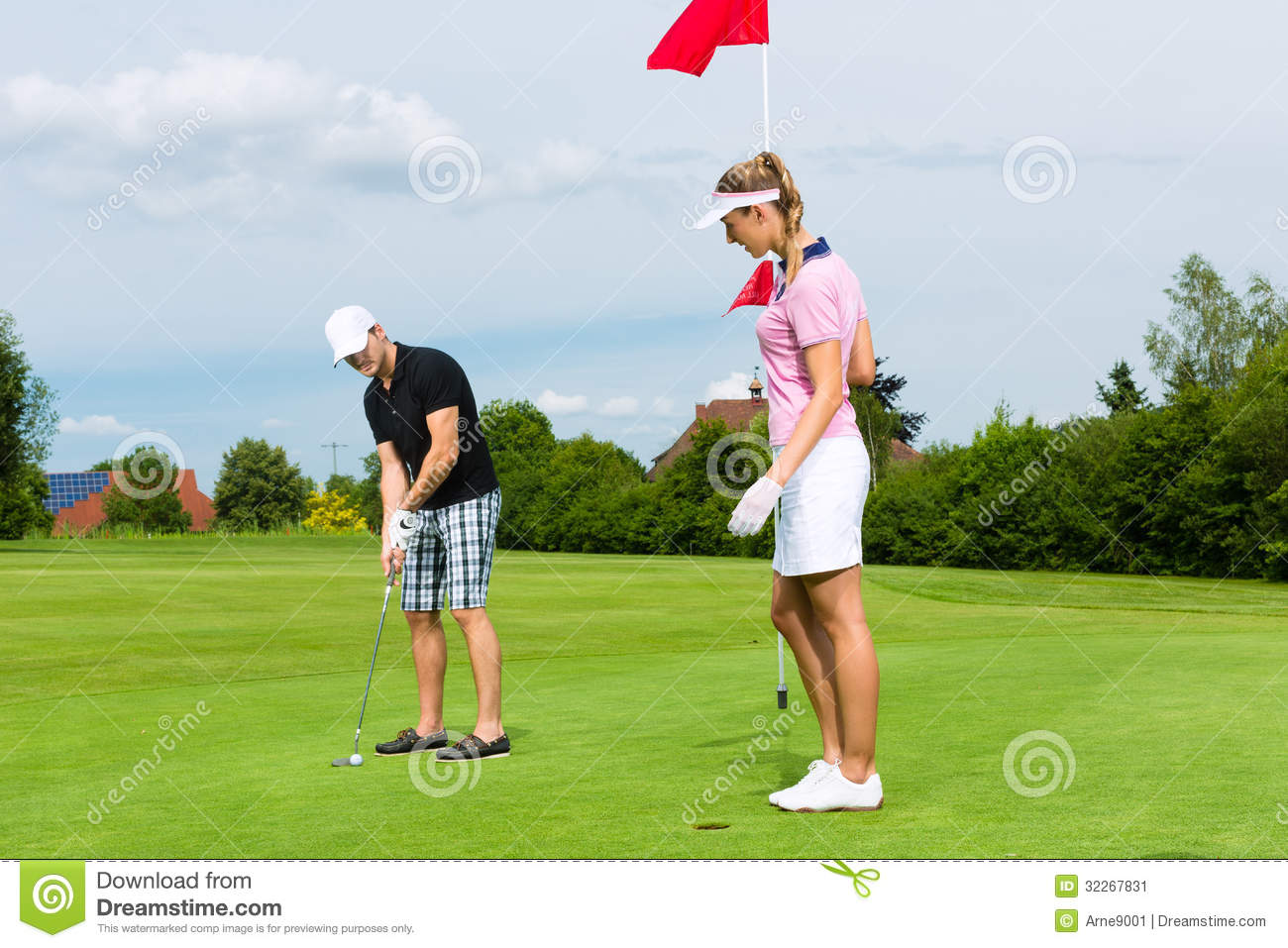 Download Young Sportive Couple Playing Golf On A Course Stock Image - Image of hobby, together: 32267831