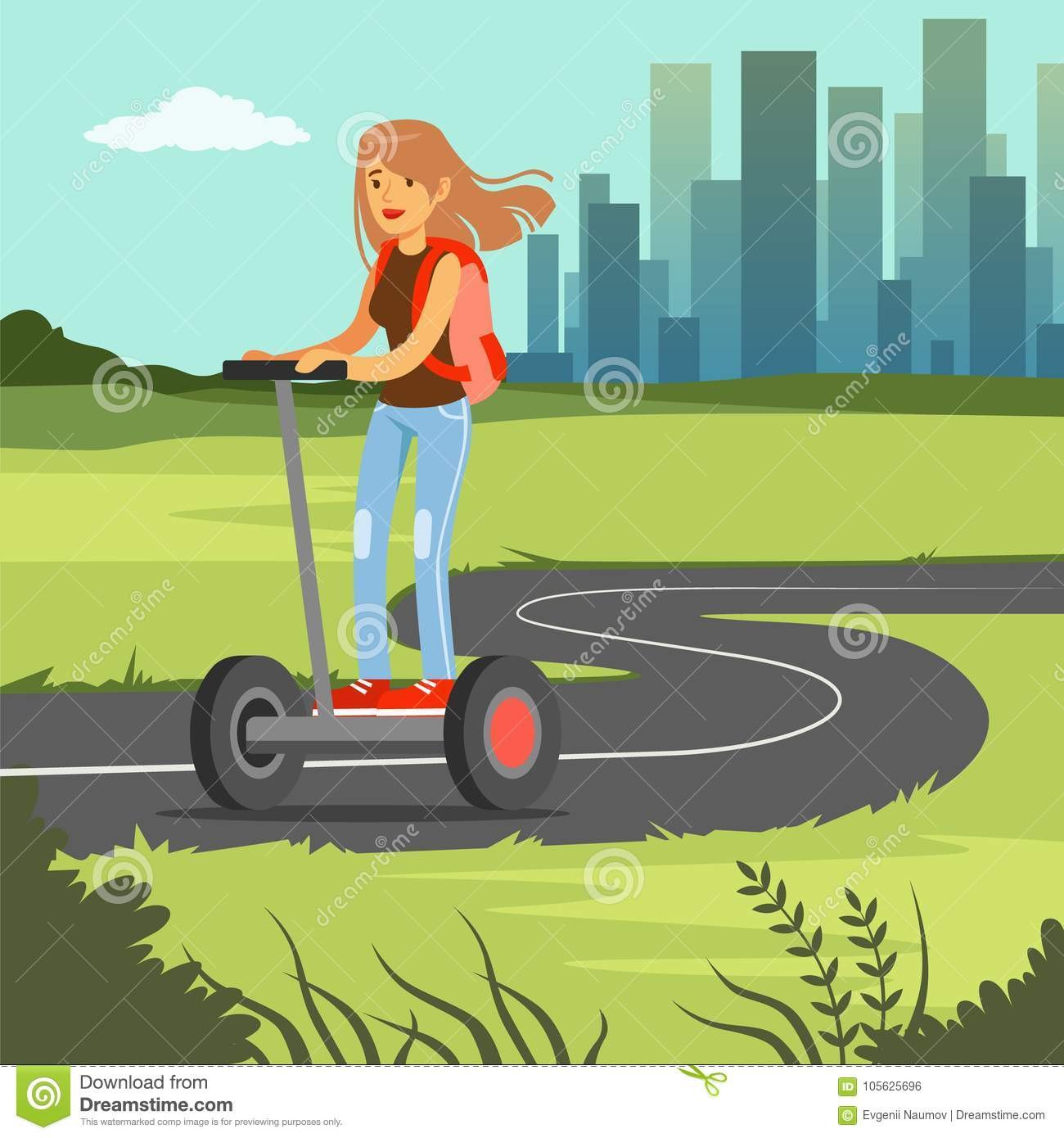 Young sportive woman riding on scooter on city background, electric two wheels vehicle vector illustration