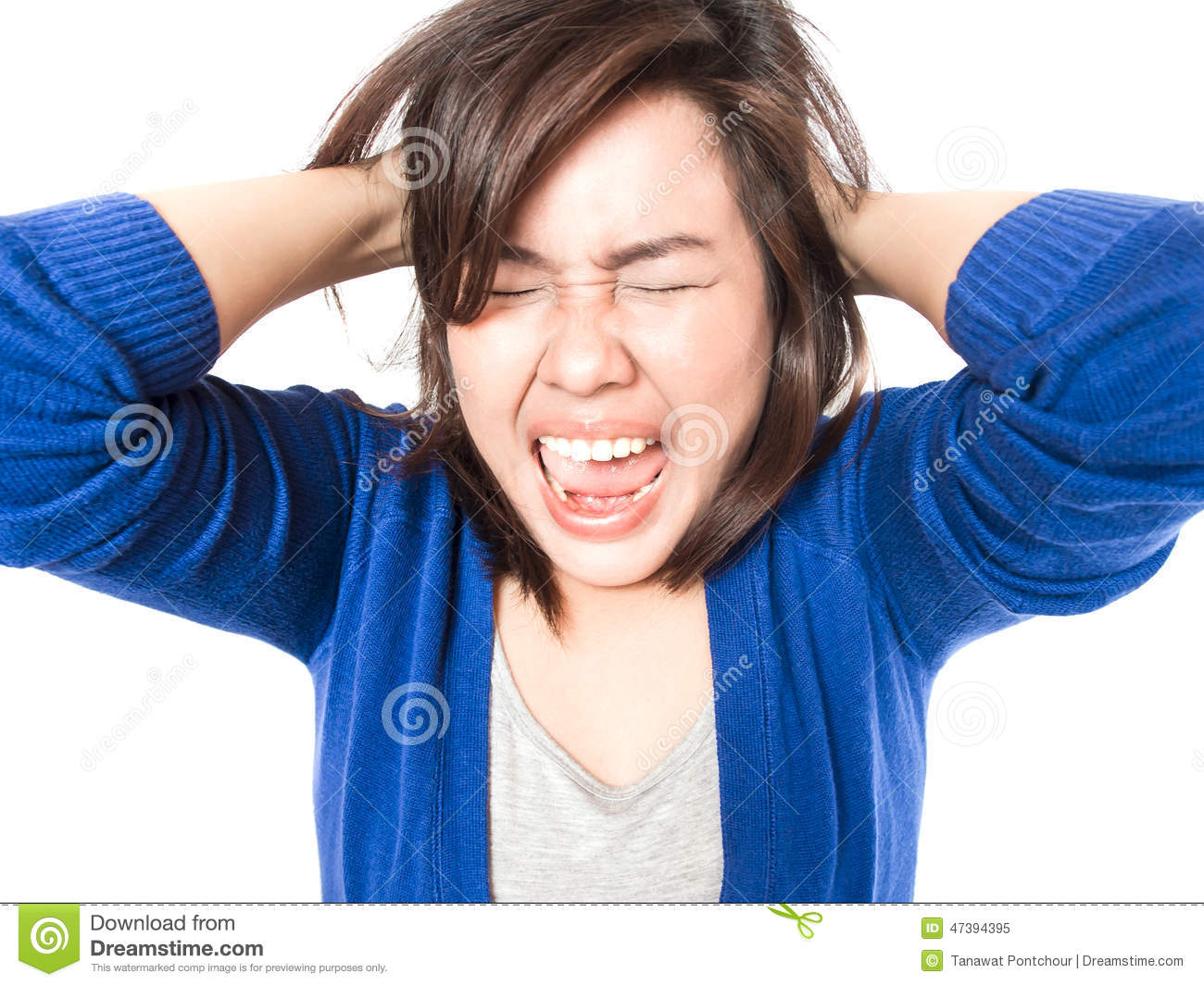 Young Stress Woman Going Crazy Pulling Her Hair In