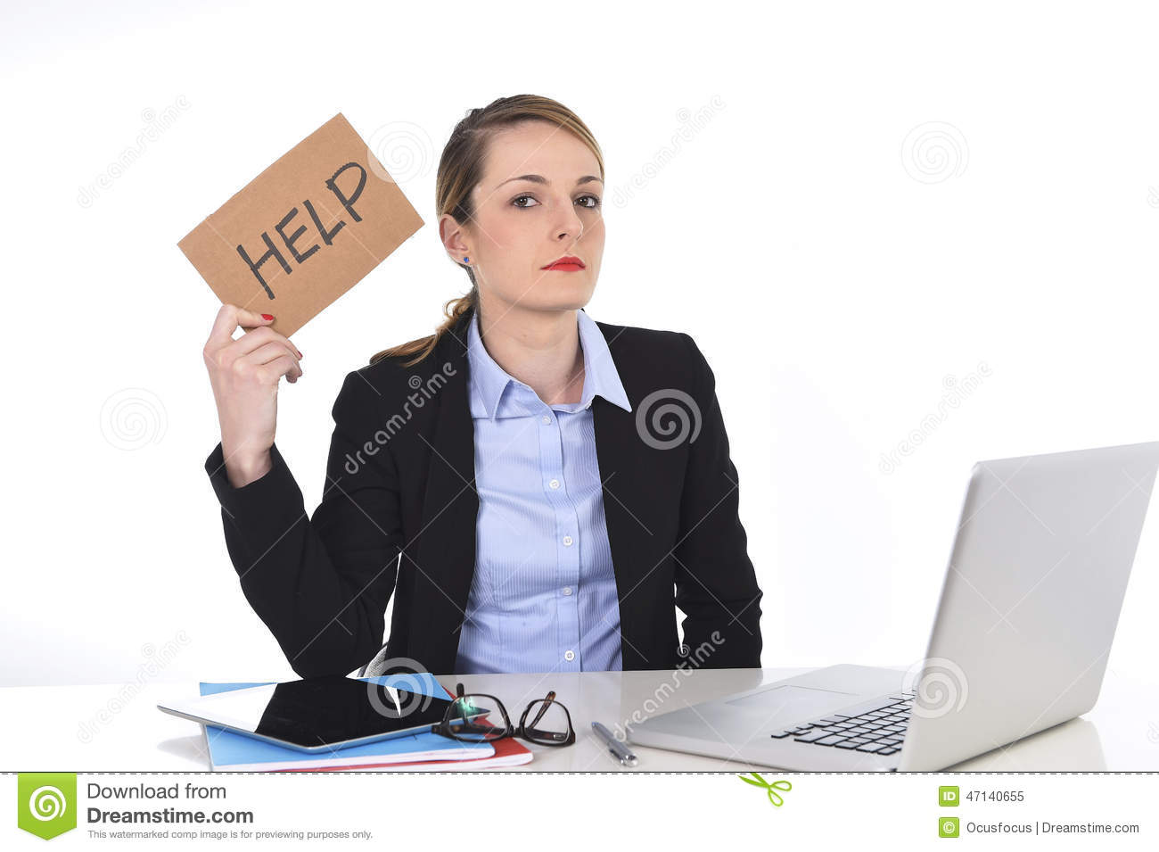 Frustrated office worker on the phone holding stock photo image - Young Stressed Businesswoman Holding Help Sign Overworked At Office Computer Stock Photo Image 47140655