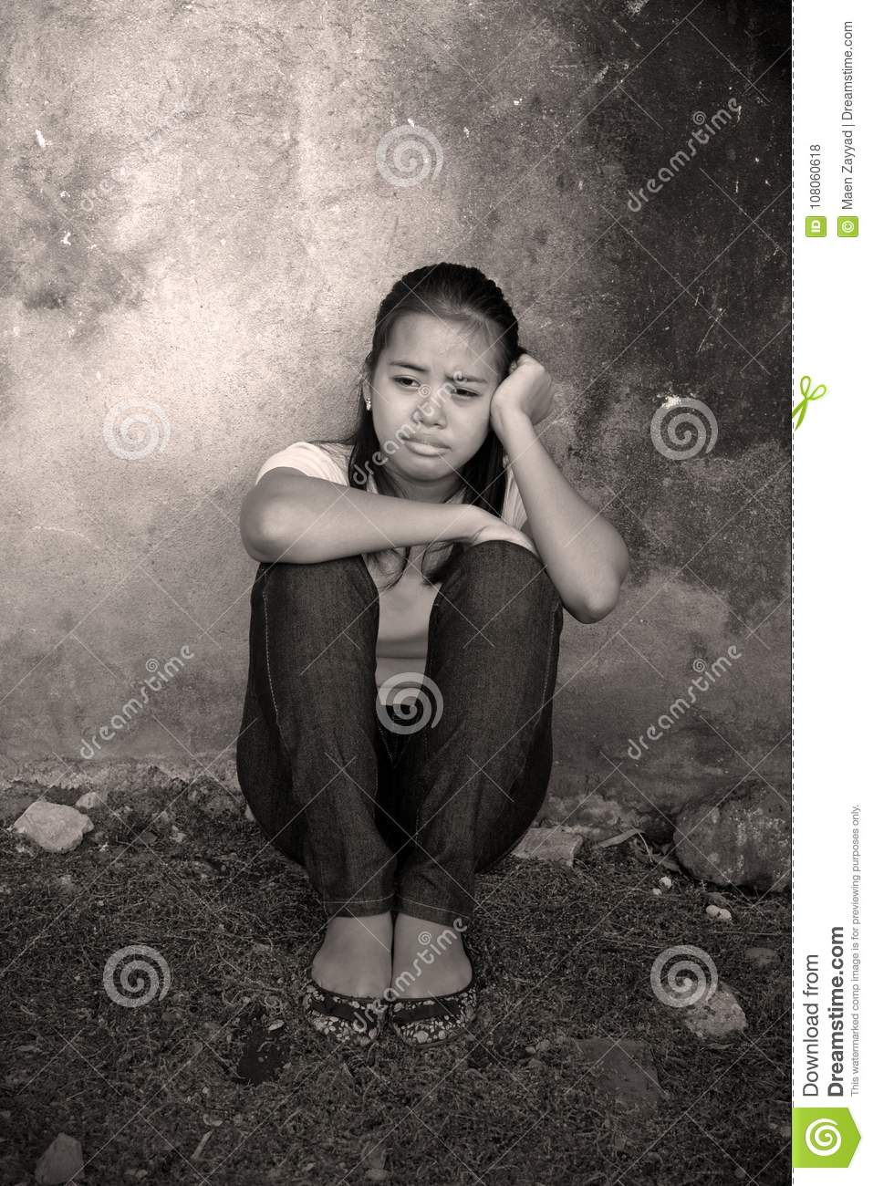 Stressed Crying teenager outdoor