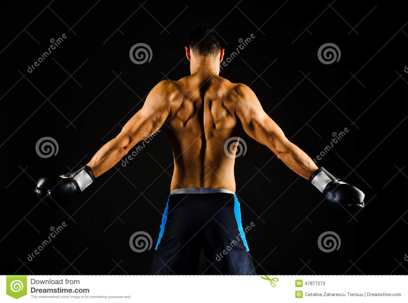 Young strong boxer with boxing gloves