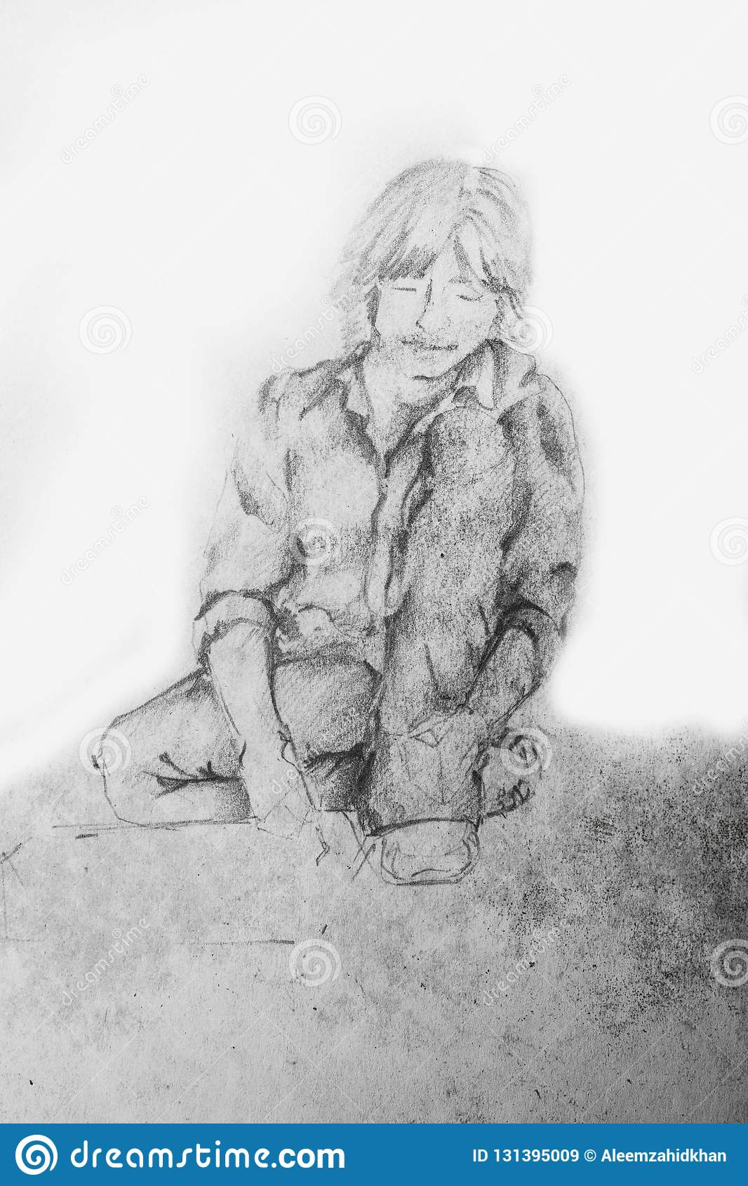Student boy sitting and reading book on the ground pencil sketch