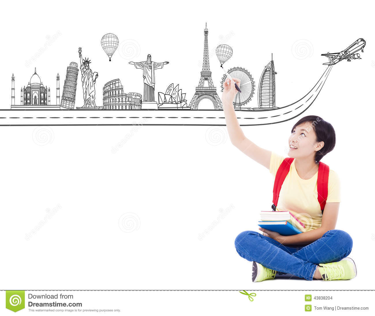 Young Student Girl Drawing A Travel Trip Landmark Stock Photo - Image ...