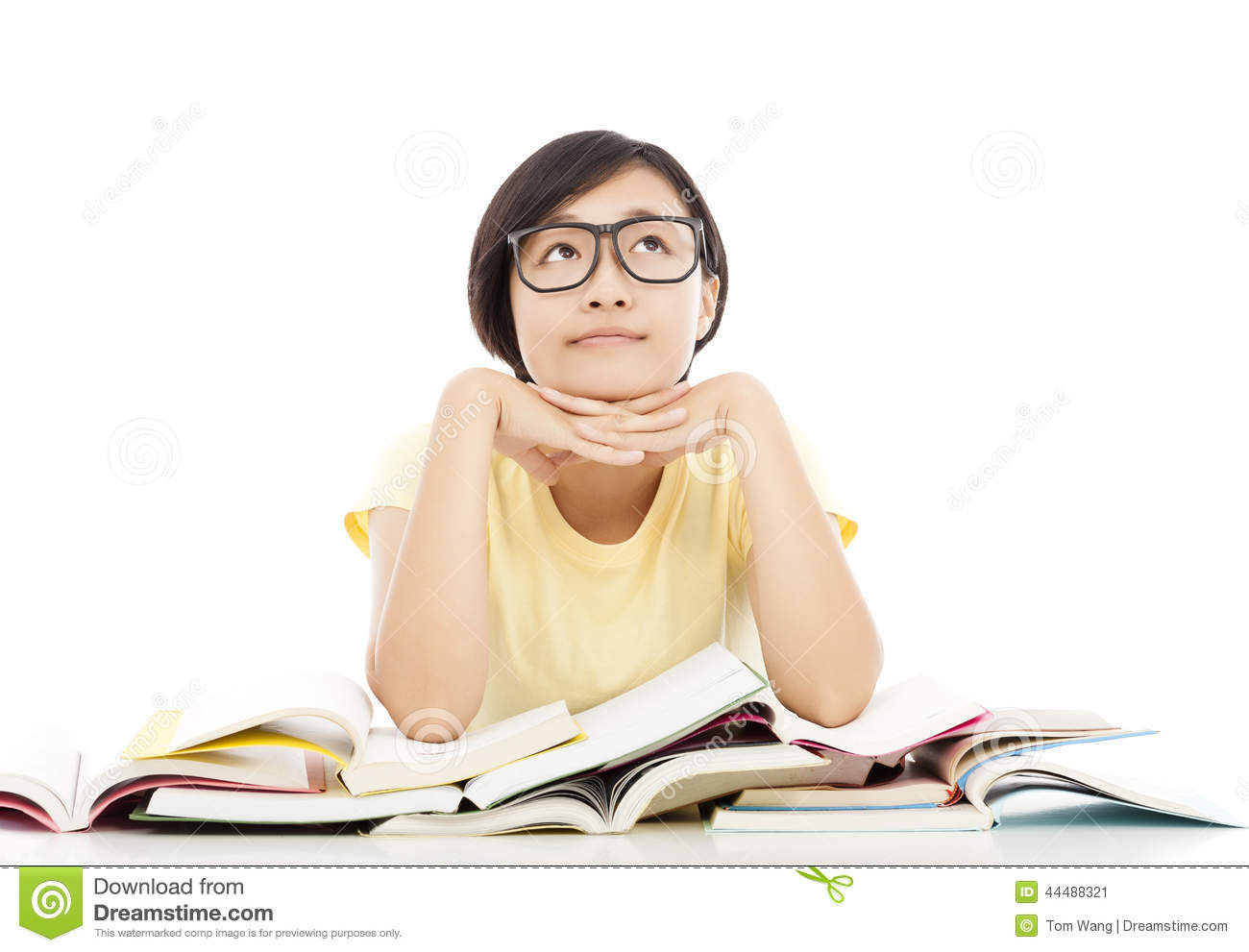 young student girl thinking with book over white background stock
