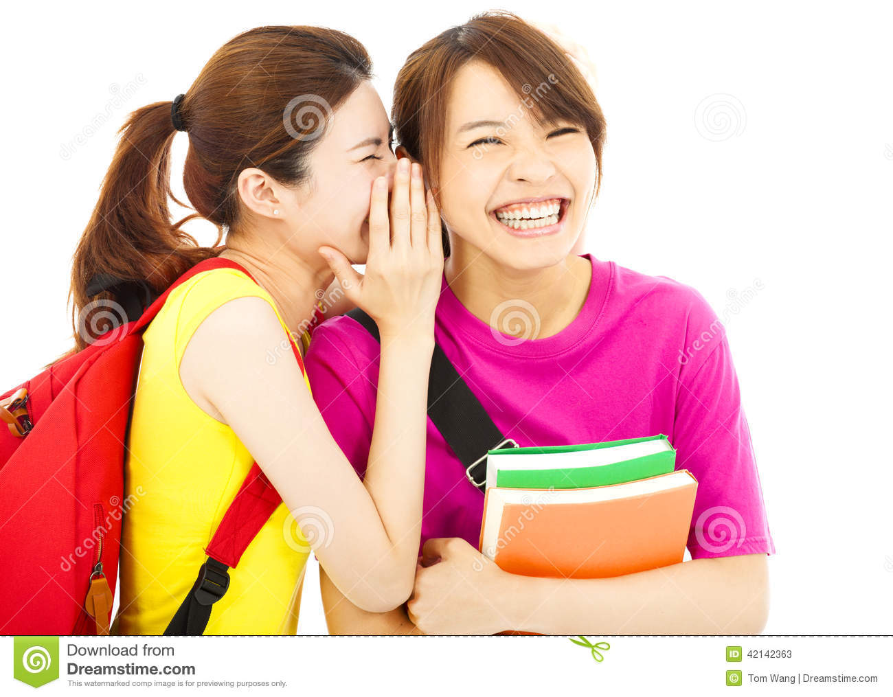 Young student talking to his friend with happy expression
