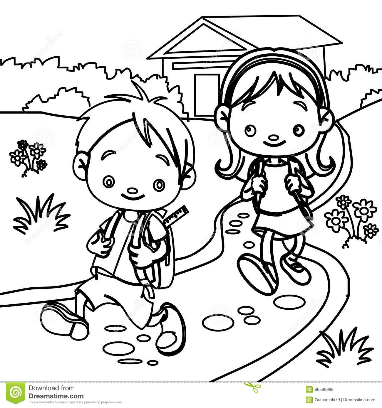 Young Students Coloring Page Stock Illustration Image