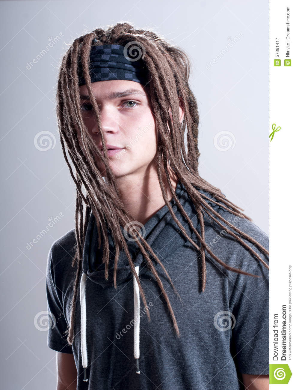 Young Stylish Guy With Dreadlocks Stock Photo Image