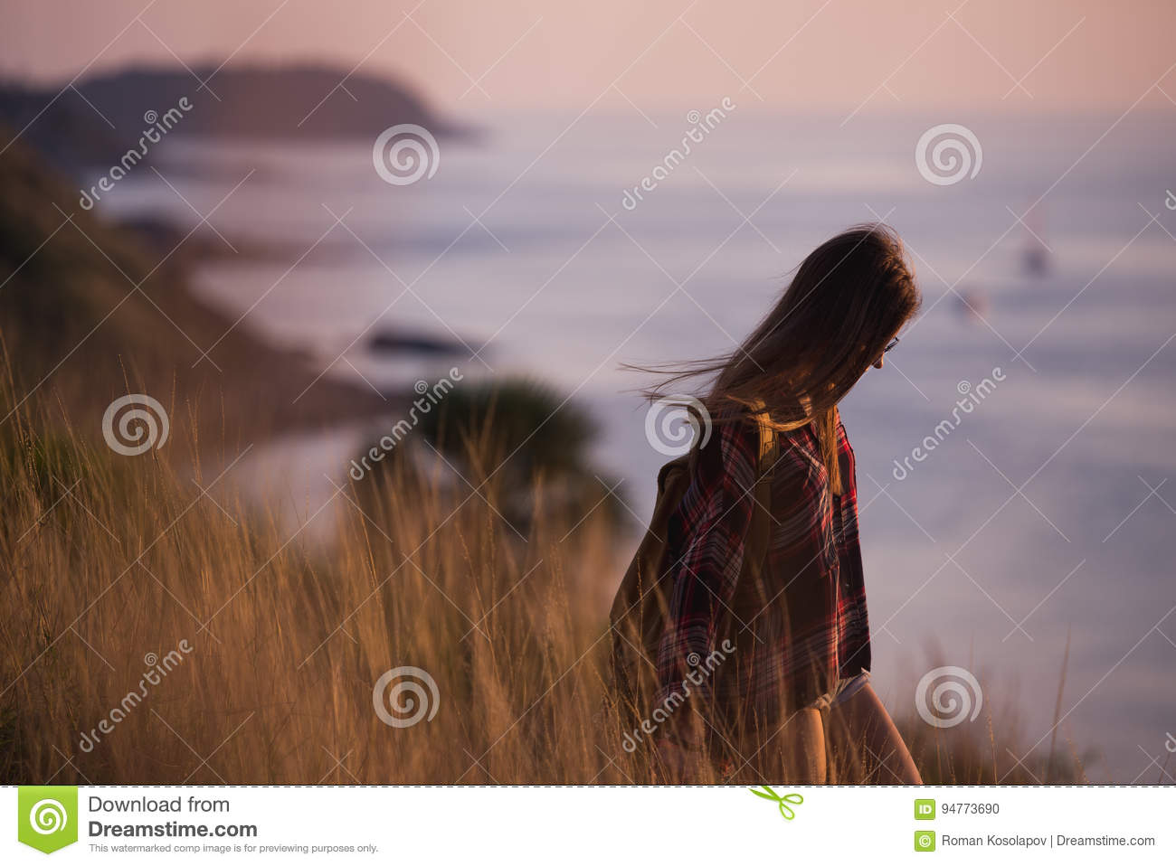 Download Young Stylish Hipster Girl Enjoy Sunset On Viewpoint. Travel Woman With Backpack Stock Photo - Image of people, journey: 94773690