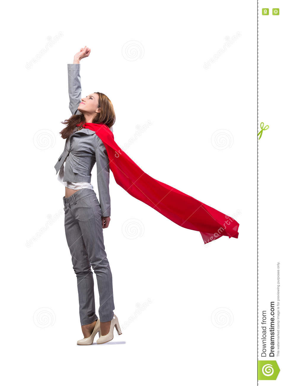 The young superwoman isolated on white