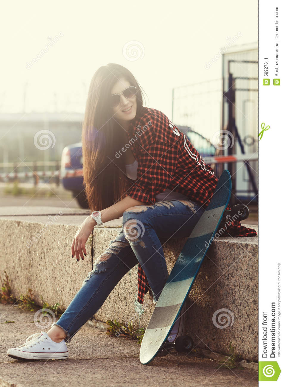 Young Swag Girl With Skateboard Posing At Street Stock Image