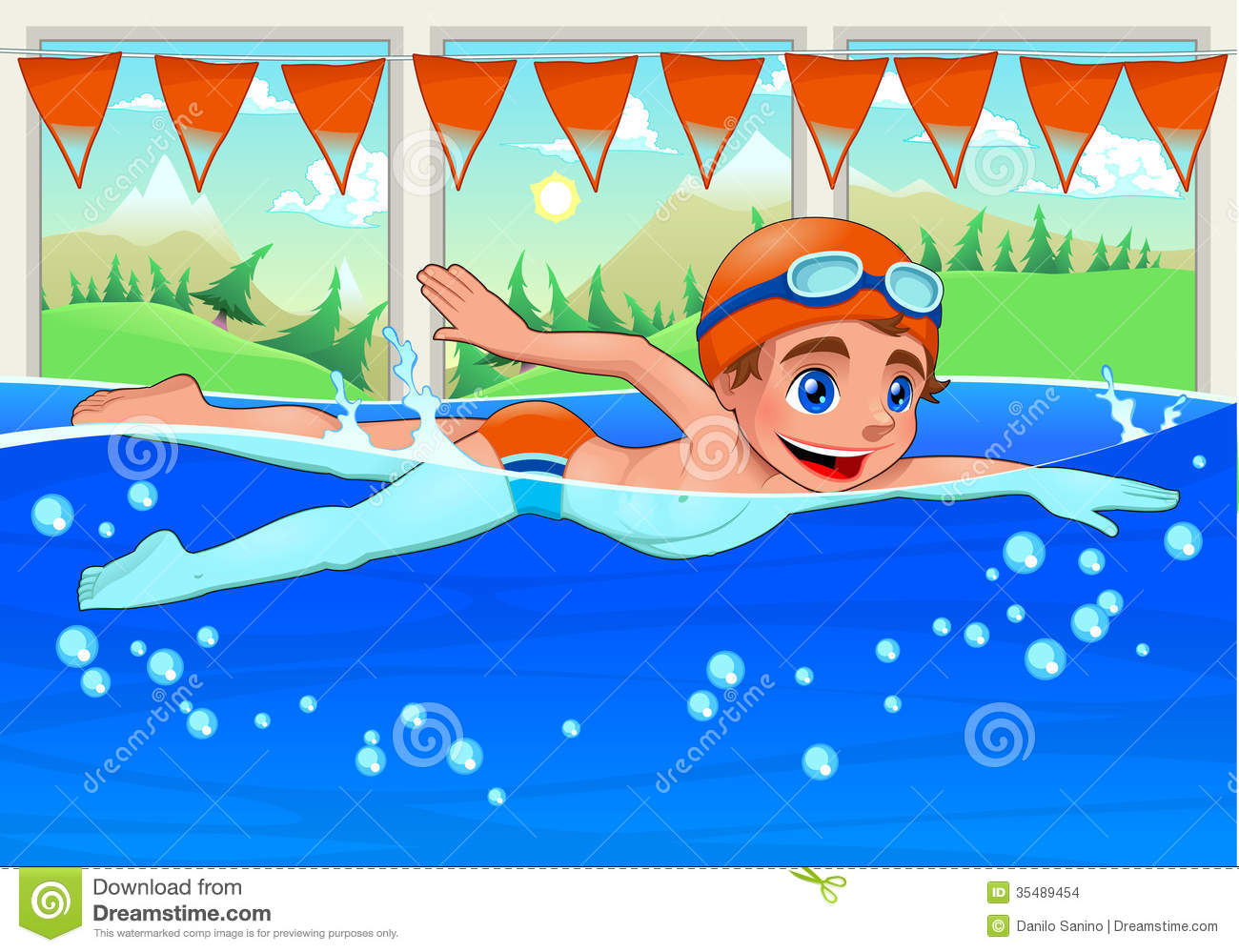 Young Swimmer In The Swimming Pool Stock Vector Illustration Of Young Landscape 35489454