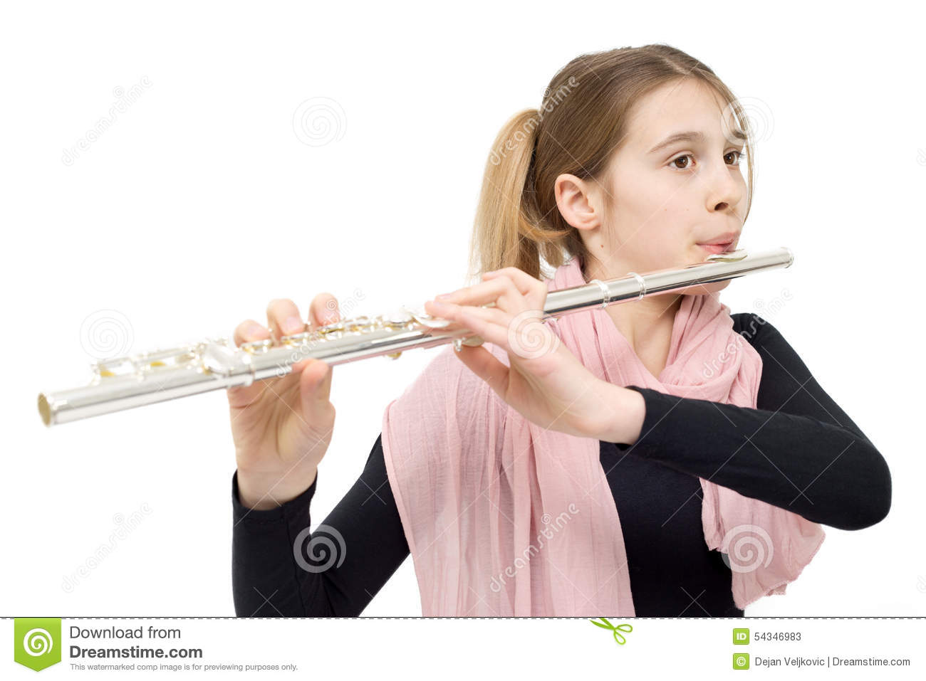8-year-old girl with red hair playing the recorder Stock Photo ...