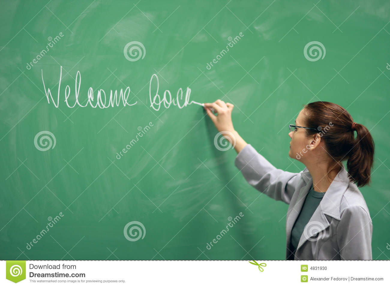 Young Teacher Writing On The Board Stock Photo - Image: 4831930