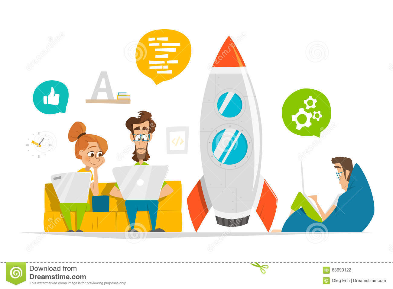 Young team working on startup start up in modern office
