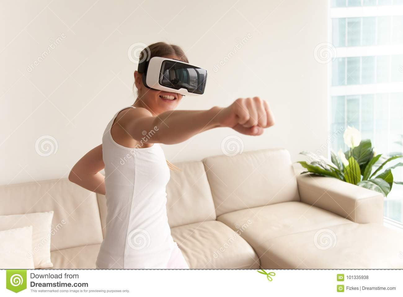 Girl Wearing VR Glasses Playing Game, Boxing In Virtual