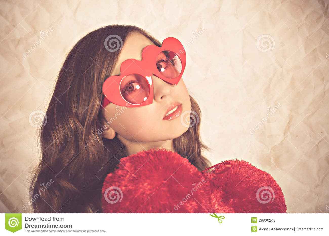 Images Girl With Heart Shaped Sunglasses Royalty Free Stock
