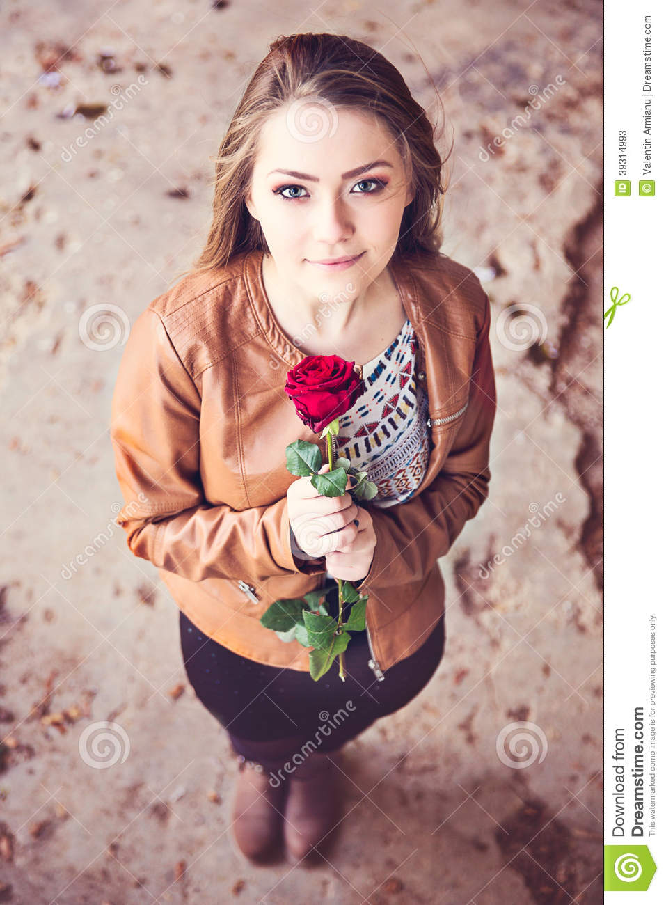 Young Teen Girl With Red Rose Stock Photo Image 39314993