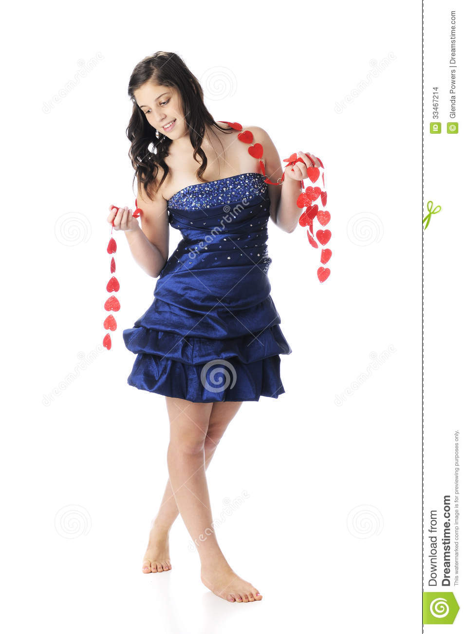 Cute Teen Girl Barefoot Black Prom Dress Stock Images