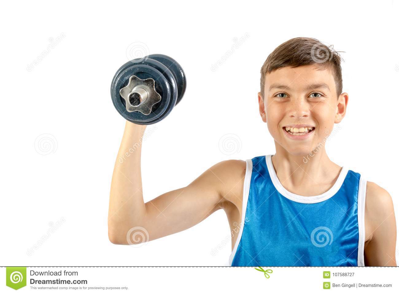 young teenage boy using dumbbells stock image image of healthy