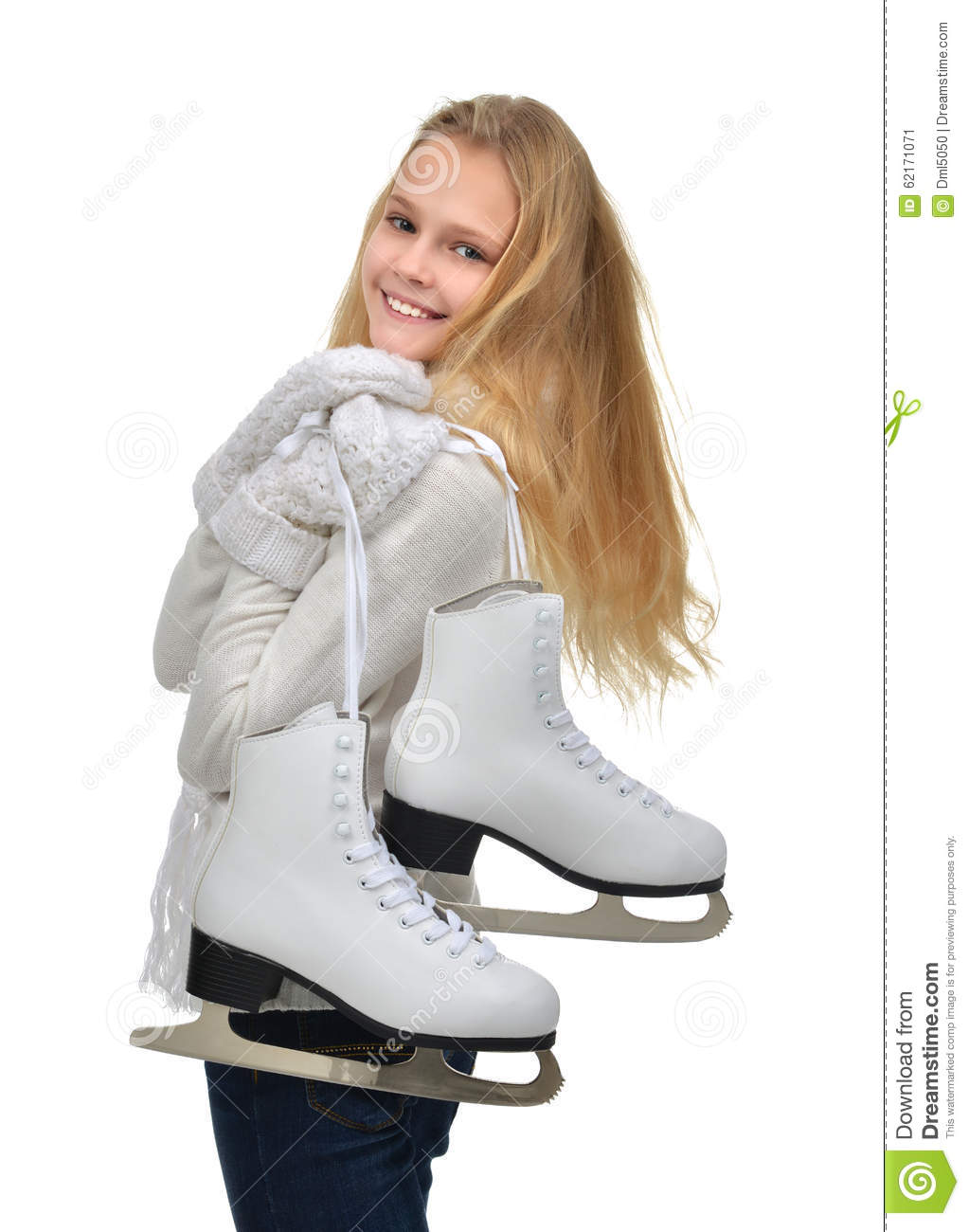 Young teenage girl holding ice skates for winter ice skating sport activity smiling