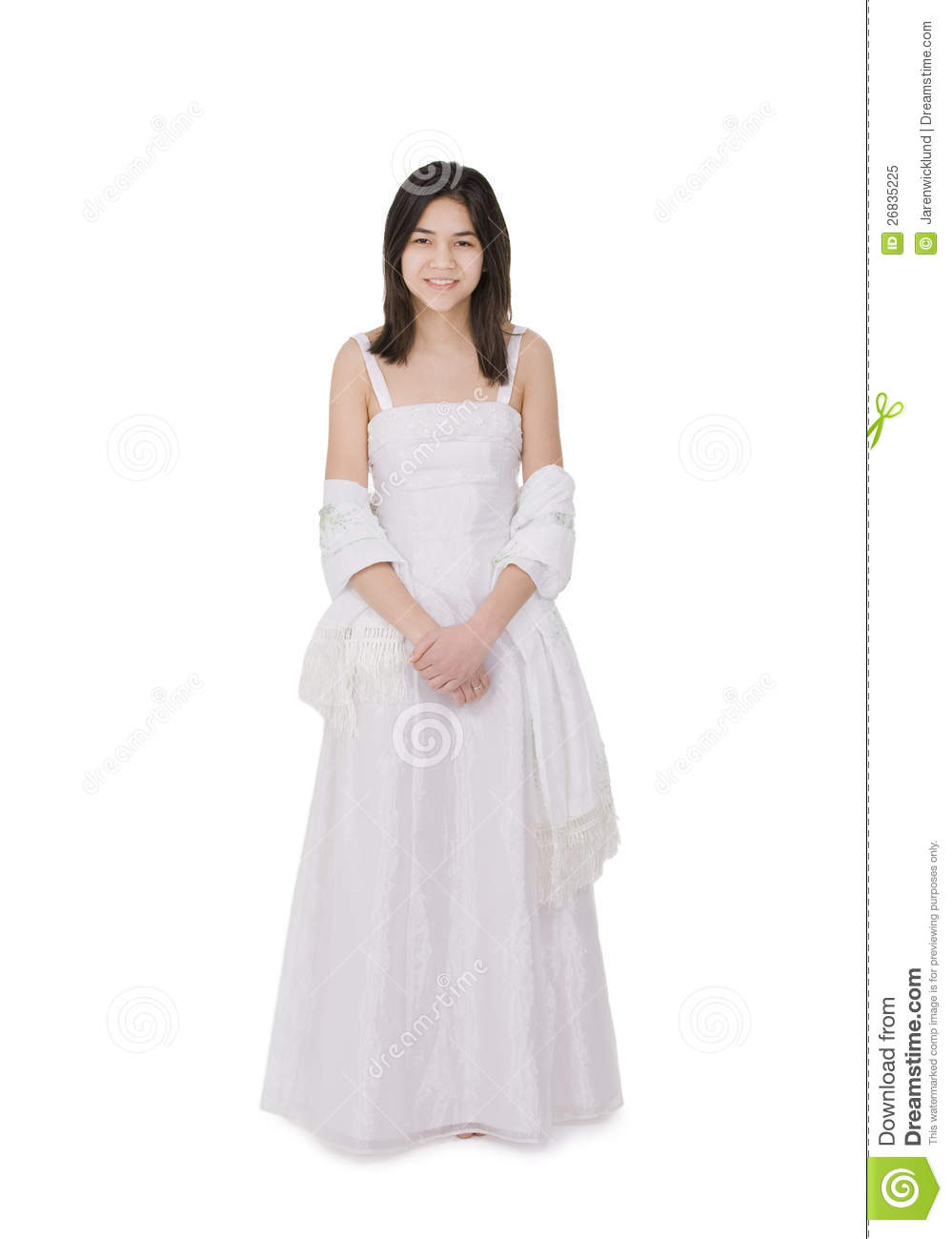 Young Teenage Girl In White Dress Gown Isolated Stock -8302
