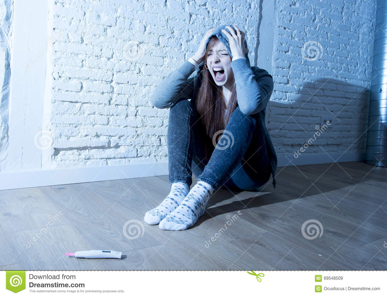 Young Teenager Girl Or Young Woman In Shock Scared After