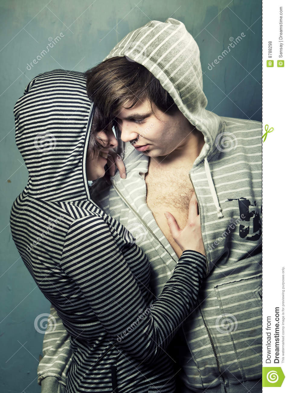 Young teenagers embracing