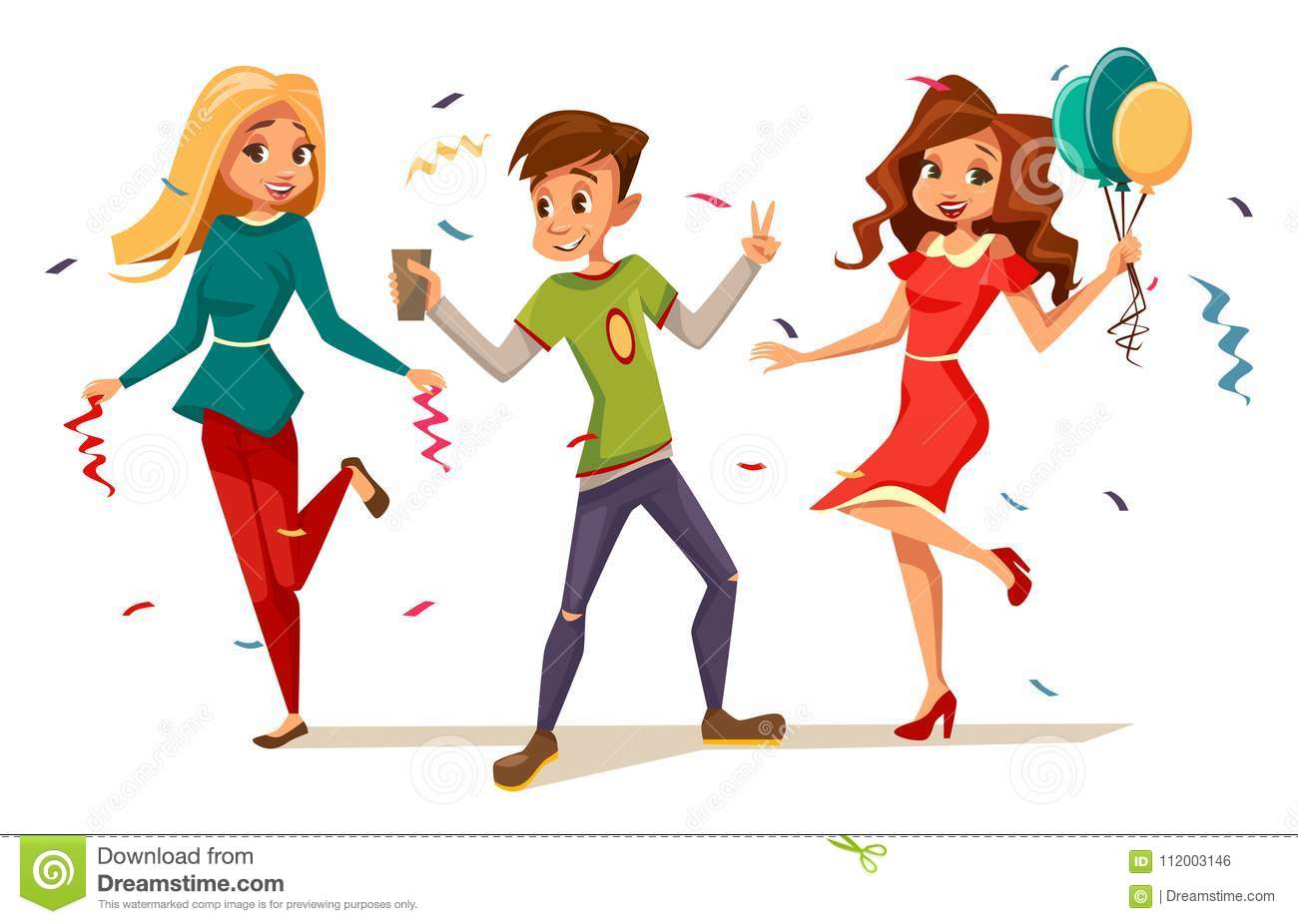 be64fbcac Young teens dancing at party vector illustration of cartoon boys and girls  kids characters celebrating birthday